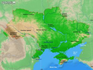 Ukraine physical map (cc: A Learning Family).