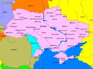 Ukraine political map (cc: A Learning Family).