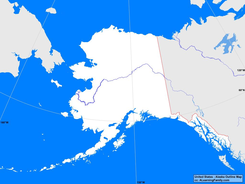 Usa Alaska Outline Map A Learning Family