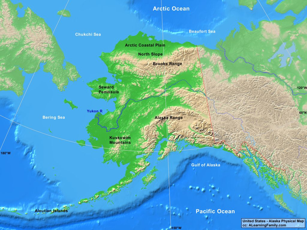 USA: Alaska Physical Map - A Learning Family