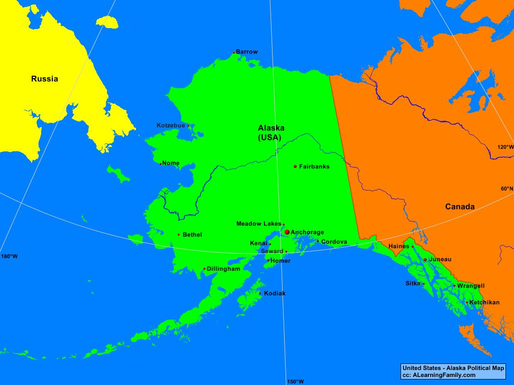 Political Map Of Alaska.Usa Alaska Political Map A Learning Family