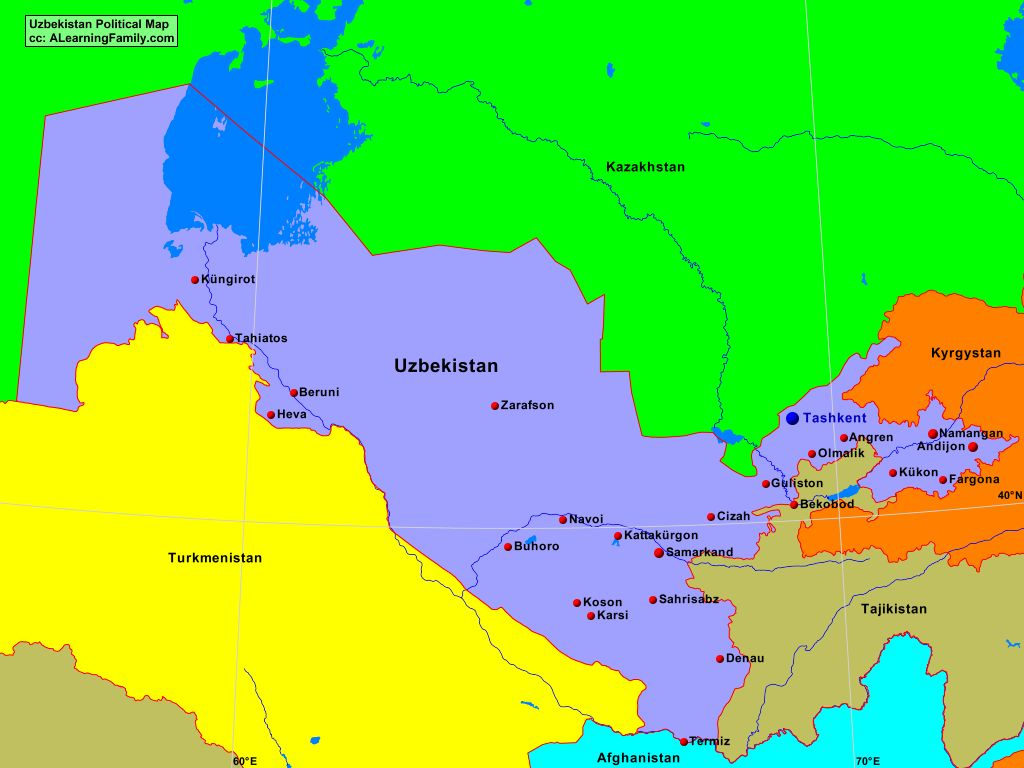 Uzbekistan Political Map A Learning Family
