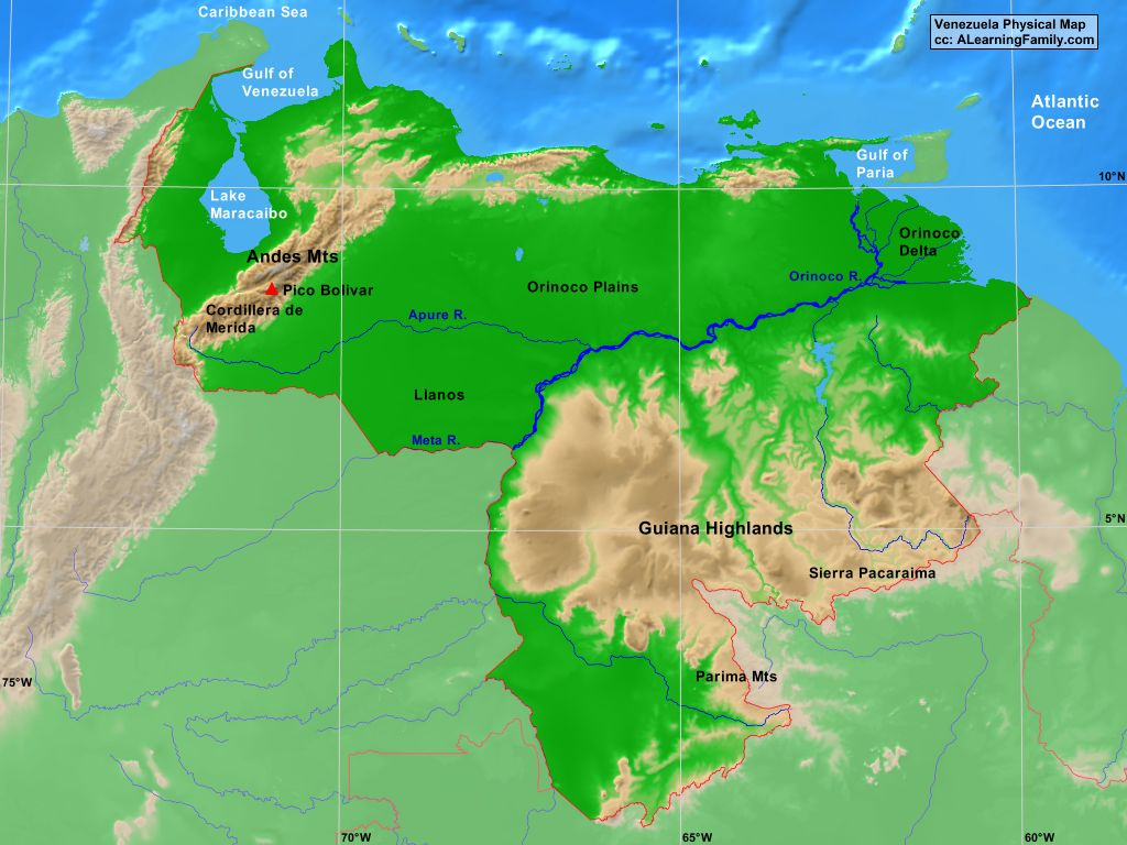 Venezuela Physical Map A Learning Family - Physical of map venezuela