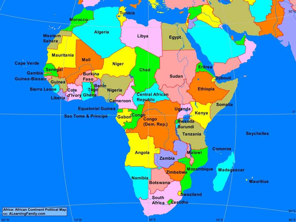 Africa Continent Map Africa: African Continent Political Map   A Learning Family