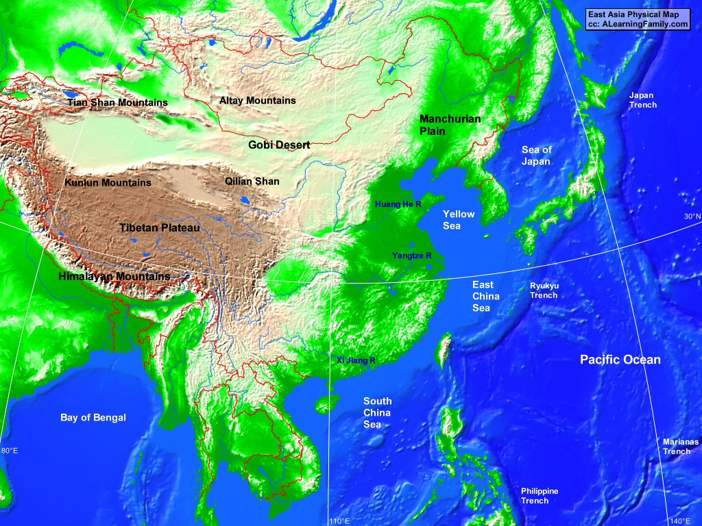 East Asia Physical Map East Asia: Physical Map   A Learning Family