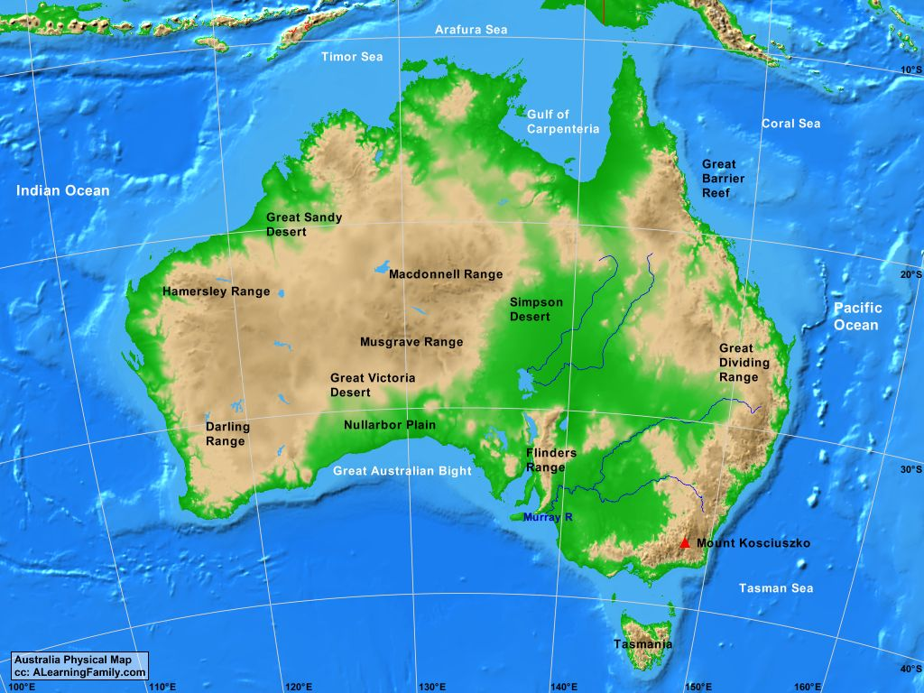 Australia Physical Map Australia Physical Map   A Learning Family