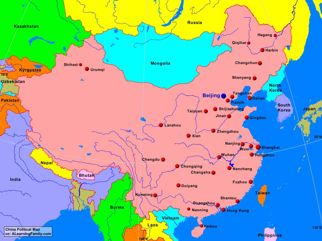Political Map Of China China Political Map   A Learning Family
