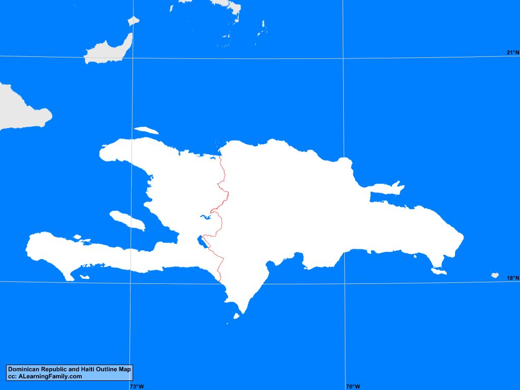 Map Haiti Dominican Republic Dominican Republic and Haiti Outline Map   A Learning Family