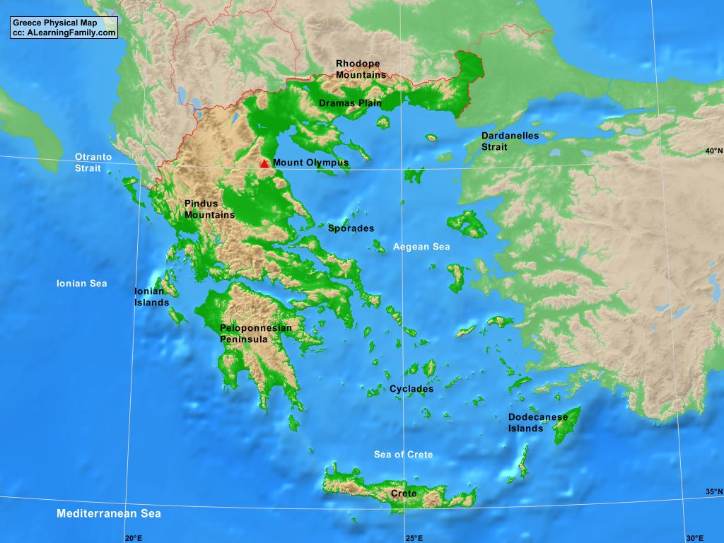 Physical Map Of Greece Greece Physical Map   A Learning Family Physical Map Of Greece