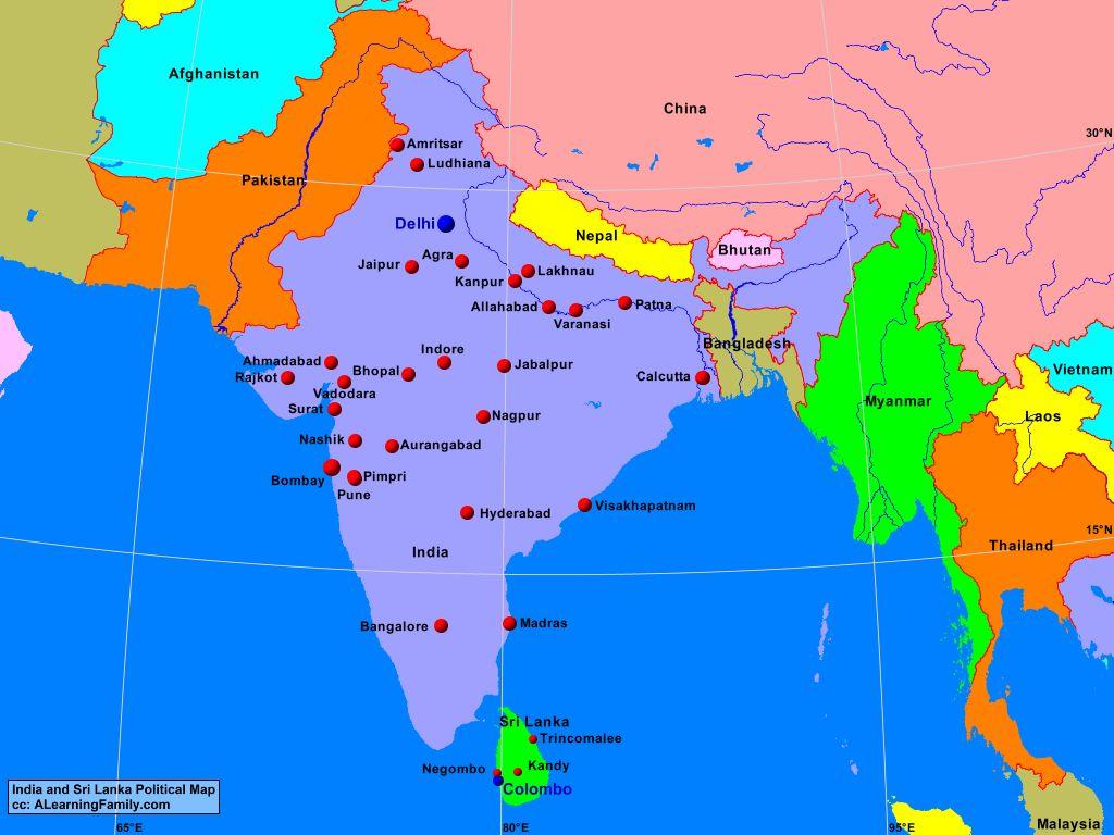 Map Sri Lanka India and Sri Lanka Political Map   A Learning Family